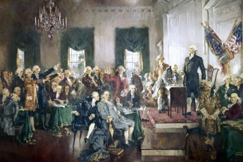 The scene at the Constitutional Convention, as painted by Howard Chandler Christy in 1910. © GraphicaArtis/Corbis
