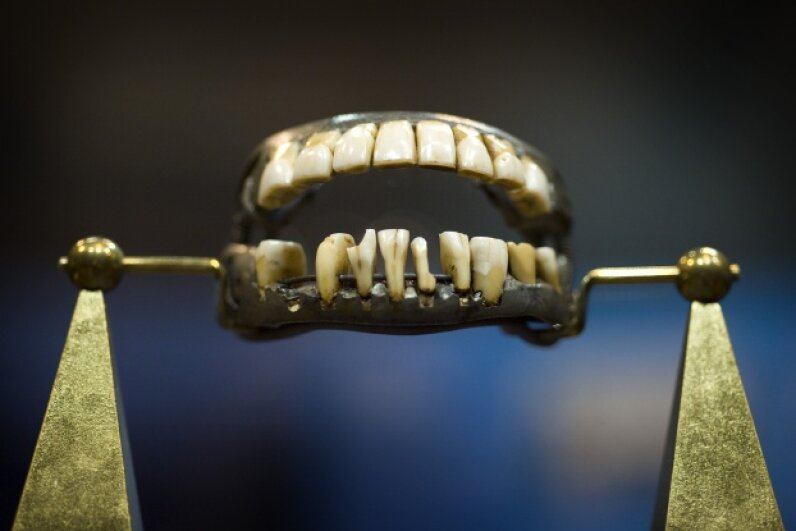 George Washington's only complete set of dentures, made out of lead, human teeth, cow teeth and elephant ivory, is displayed at The Minnesota History Center. Doesn't it make your mouth hurt to look at the dentures? © Glen Stubbe/Minneapolis Star Tribune