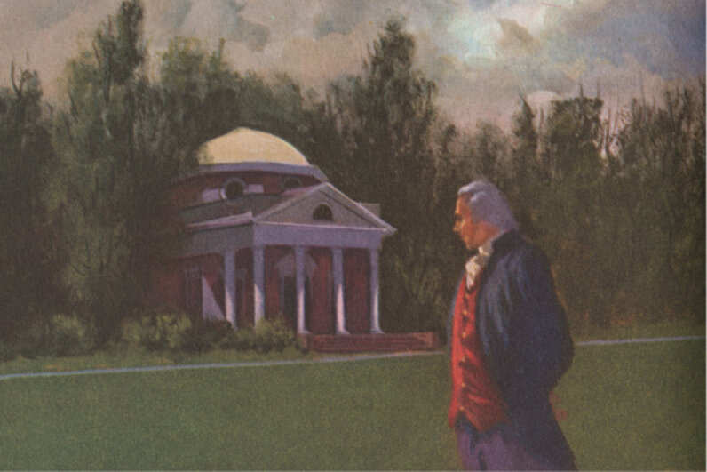 Jefferson strolls (or plods?) about the grounds of Monticello, his famed estate that would not provide much financial relief. © Blue Lantern Studio/Corbis