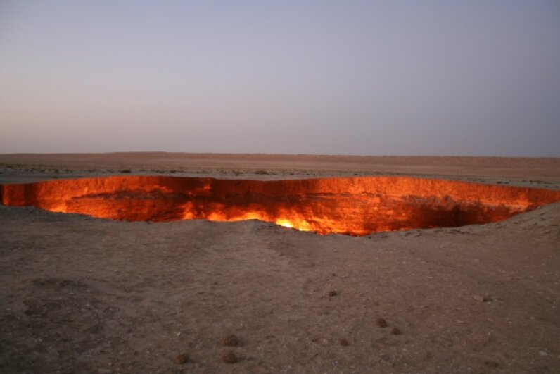 The Darvaza gas crater has been burning for more than 30 years. iStock/Thinkstock