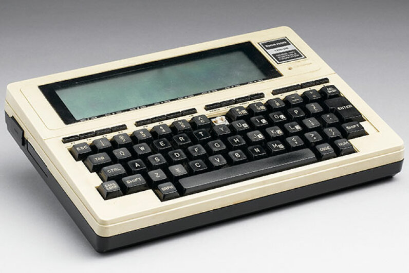 This is the TRS-80 Model 100, an extension of the original TRS-80 with a built-in liquid crystal display (LCD) screen. How's that for a tablet? SSPL via Getty Images