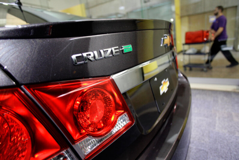 A Chevrolet Cruze Eco is displayed at the General Motors headquarters on April 1, 2014, in Detroit, Michigan. General Motors has recalled millions of vehicles in recent months due to a power steering defect and a faulty ignition-switch. Joshua Lott/Getty Images
