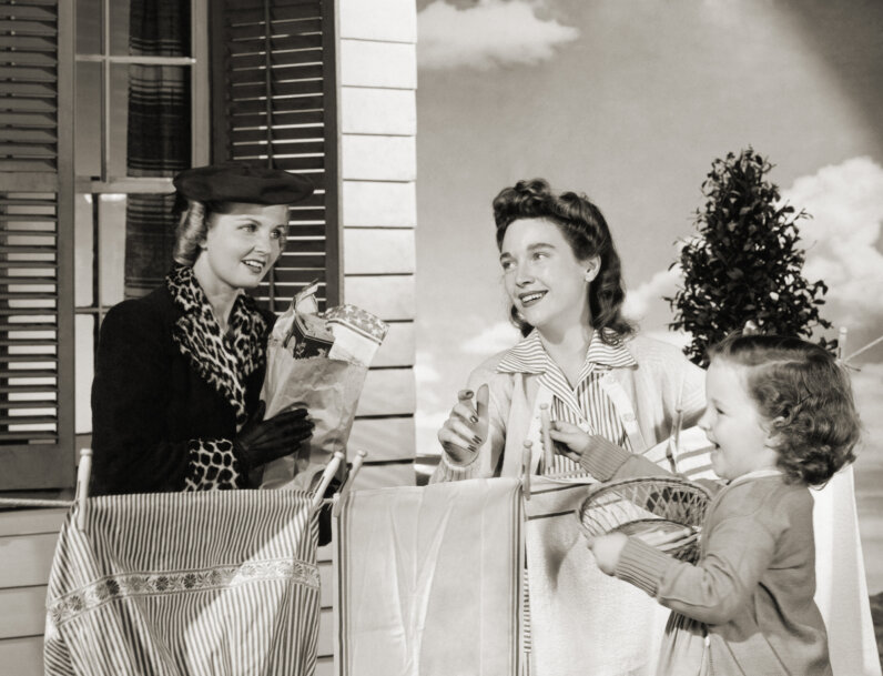 women with clothesline