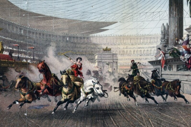 Circa 50 BC, A chariot race at the Circus Maximus, Rome.