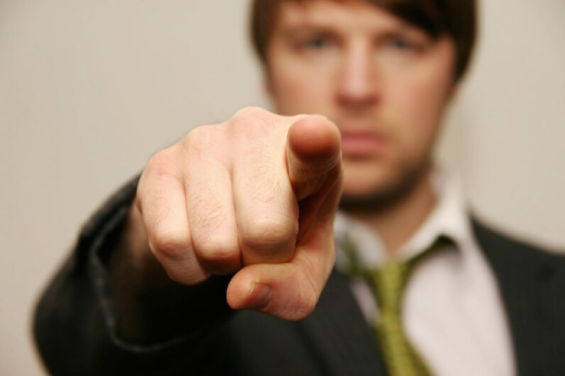 We humans are pretty good at pointing fingers at anyone other than ourselves. iStockphoto/Thinkstock