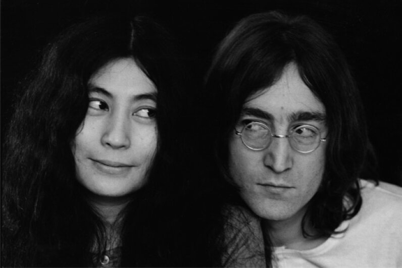 December 1968: Yoko Ono and John Lennon in happier times. The Fab Four wouldn't break up until 1970, and Lennon wouldn't be assassinated for another 12 years. Susan Wood/Hulton Archive/Getty Images
