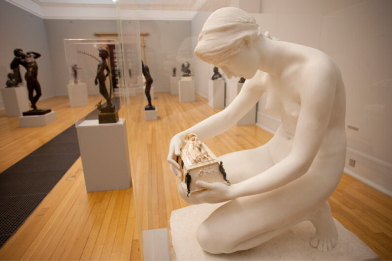 The moment before Pandora's curiosity gets the best of her is captured by artist Harry Bates in marble, ivory and bronze. The Tate acquired the sculpture in 1891. © Steven Vidler/Eurasia Press/Corbis