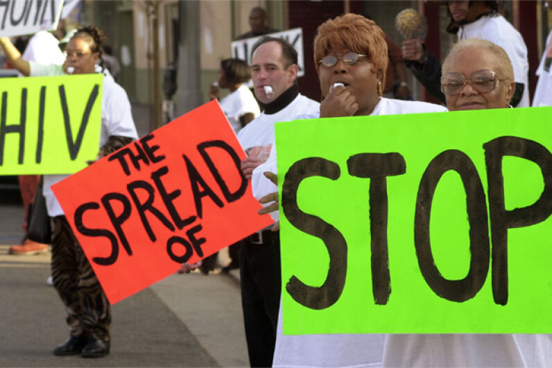 Los Angeles residents participate in a rally for National Black HIV/AIDS Awareness Day on Feb. 7, 2002. According to the World Health Organization, more than 1.7 million people died of AIDS-related illnesses in 2011. Steve Grayson/WireImage/Getty Images