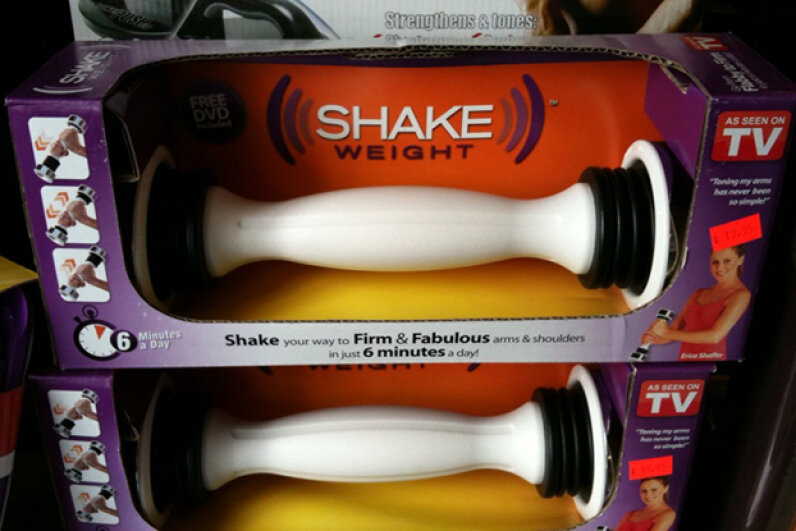 The Shake Weight claims to improve upon dumbbells by adding a spring into the mix. Image courtesy herrea, used under Creative Commons Attribution 2.0 Generic License