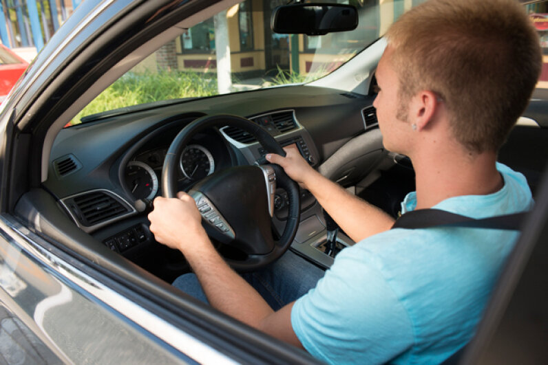 When your kid graduates to driving on an actual street, he should be watching and registering what's happening, not freaking out in wide-eyed panic. (Creative Commons/Flickr/State Farm)