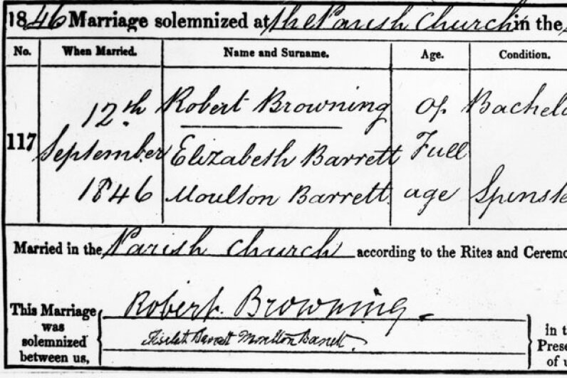 Robert Browning and Elizabeth Barrett's marriage certificate. Harrison/Hulton Archive/Getty Images