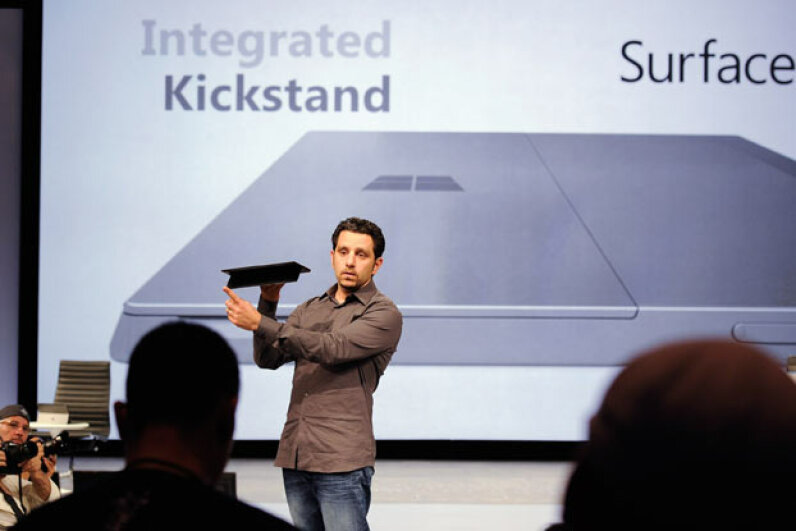 A Microsoft Surface design team member shows off the new tablet at a news conference in the summer of 2012. Kevork Djansezian/Getty Images News