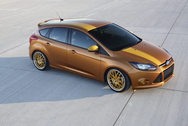 This Focus, by Anaheim Calif.-based FSWerks, delivers plenty of performance upgrades -- including an FSWerks cold air intake. (Courtesy of Ford Motor Company)