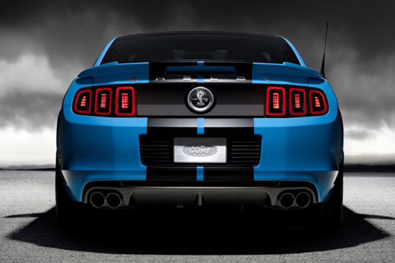 The 2013 Ford Shelby GT500 has a 5.8-liter supercharged V-8 engine producing 650-horsepower and 600 lb.-ft. of toque -- and a new quad exhaust system. (Courtesy of Ford Motor Company)