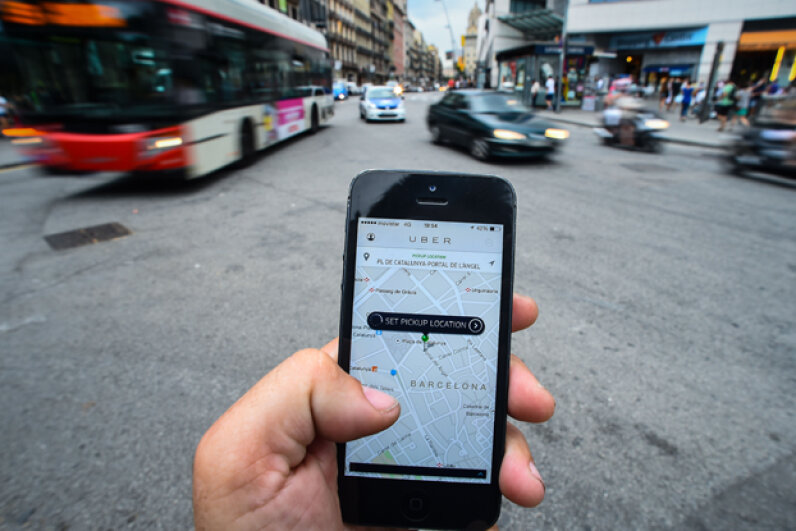 The new smartphone taxi app 'Uber' shows how to select a pick up location in Barcelona, Spain. (David Ramos/Getty Images)
