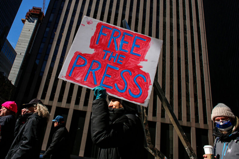 People took to the streets of New York City in protest in February 2017 after the White House denied access to several major U.S. media outlets, including CNN and The New York Times, to an off-camera briefing. KENA BETANCUR/AFP/Getty Images