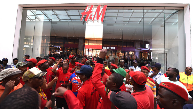 Protests at H&M South African stores