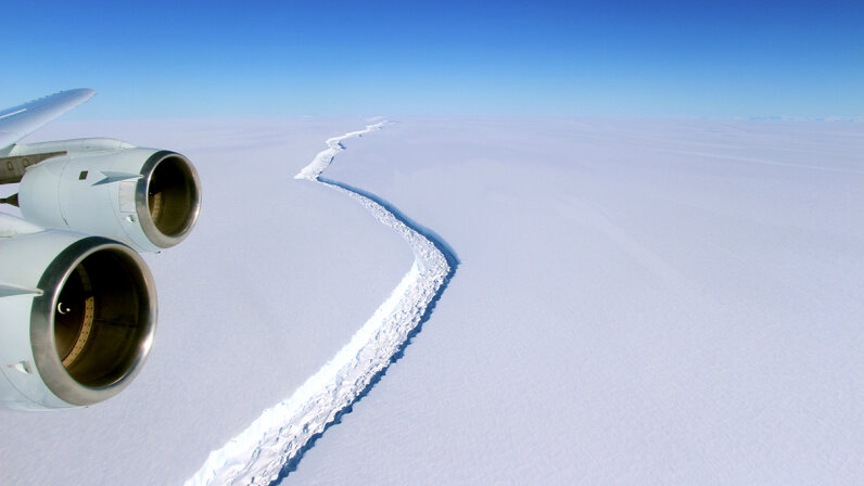 This massive rift in the Larsen C ice shelf, pictured here in November 2016, created a historically large iceberg that calved off from the ice shelf around July 11, 2017. The area to the right of the crack is now afloat in the sea. John Sonntag/NASA