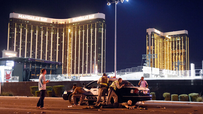 Las Vegas police stand guard along the streets outside the Route 91 Harvest Country music festival, which came under deadly gunfire on Oct. 1, 2017 in Las Vegas, Nevada. David Becker/Getty Images