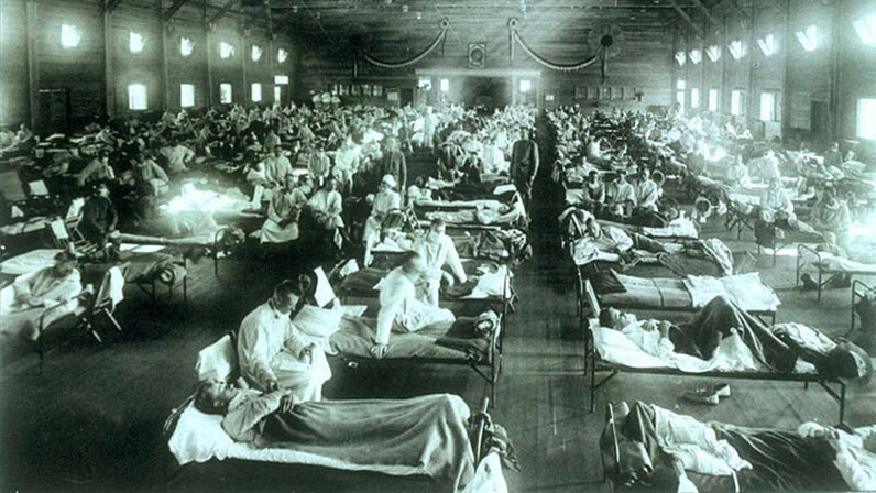 Emergency military hospital, Camp Funston, Kansas, Spanish flu