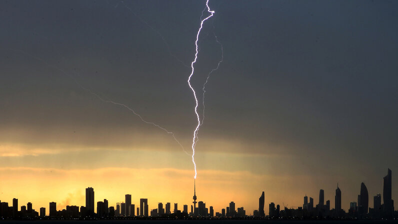 Lightning strikes the liberation tower in Kuwait City