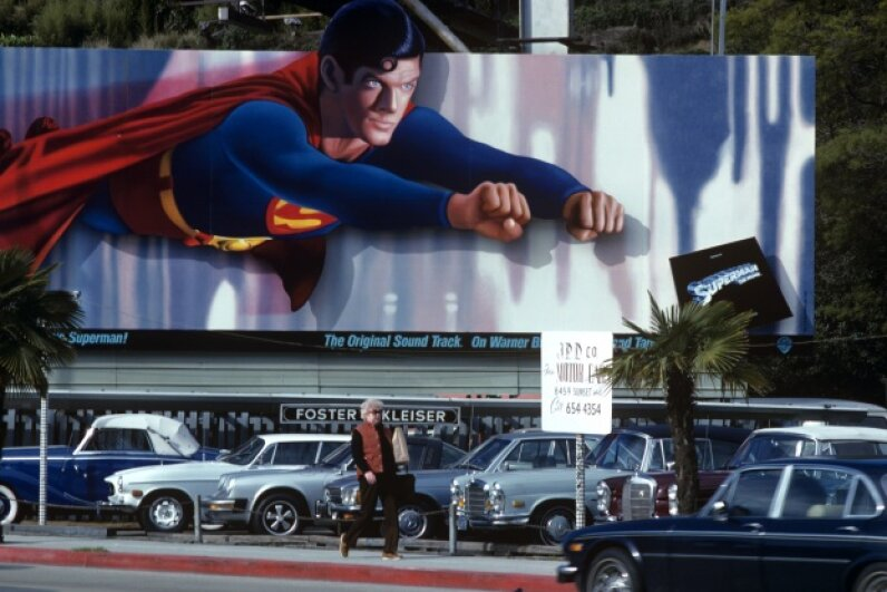 "Back in 1979, when this billboard adorned the Sunset Strip in West Hollywood, superhero movies hadn't really come into their own yet. You could say that ""Superman"" was the gateway movie. © Robert Landau/Corbis"