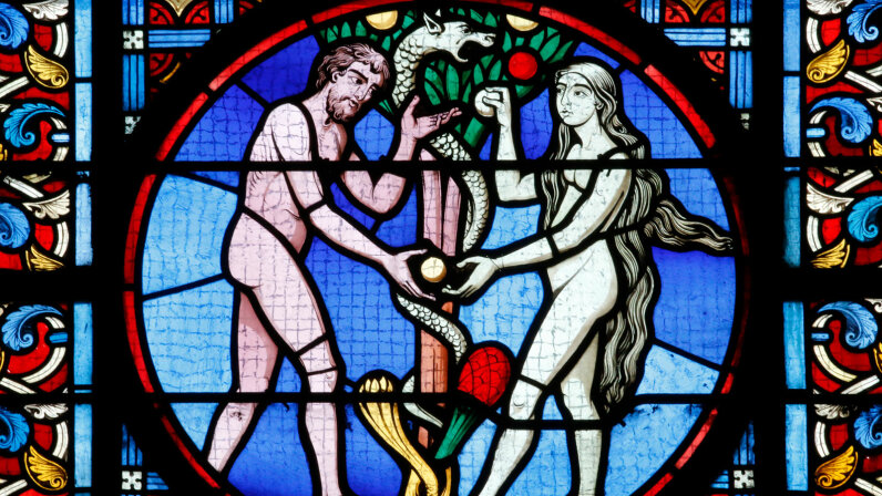 Adam and Eve, stained glass