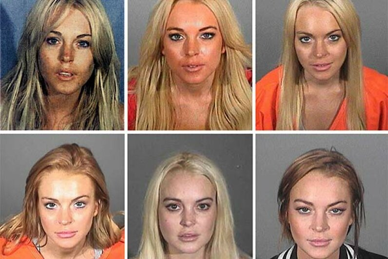 This composite image compares the six booking photos of actress Lindsay Lohan. She's been arrested several times for DUI. Santa Monica Police Department via Getty Images