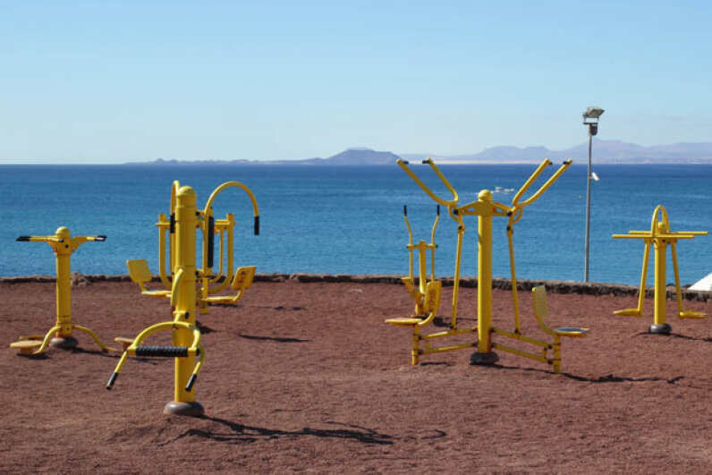 Outdoor workout equipment has to be designed to withstand the elements, and while it doesn't always look like indoor equipment, the functions are the same. ©iStockphoto/Thinkstock