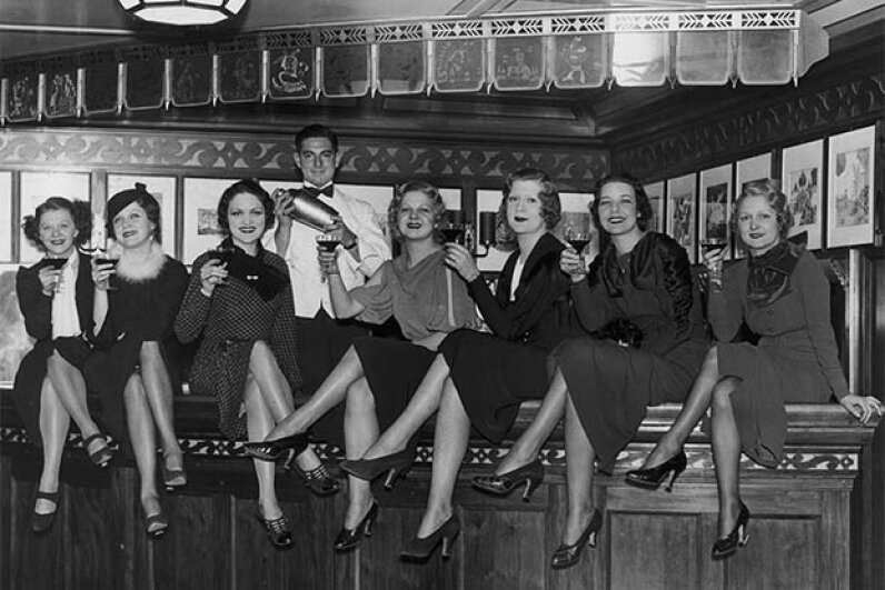 A group of young women toast the end of Prohibition in the luxury liner SS Manhattan, off New York, 1933. Before its repeal, the ship's bar was required to close 12 miles out from the U.S. coast. FPG/Hulton Archive/Getty Images
