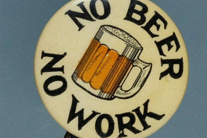 This button promoted the repeal of Prohibition, which was accomplished in 1933. A little liquor is actually good for you. © David J. & Janice L. Frent Collection/Corbis