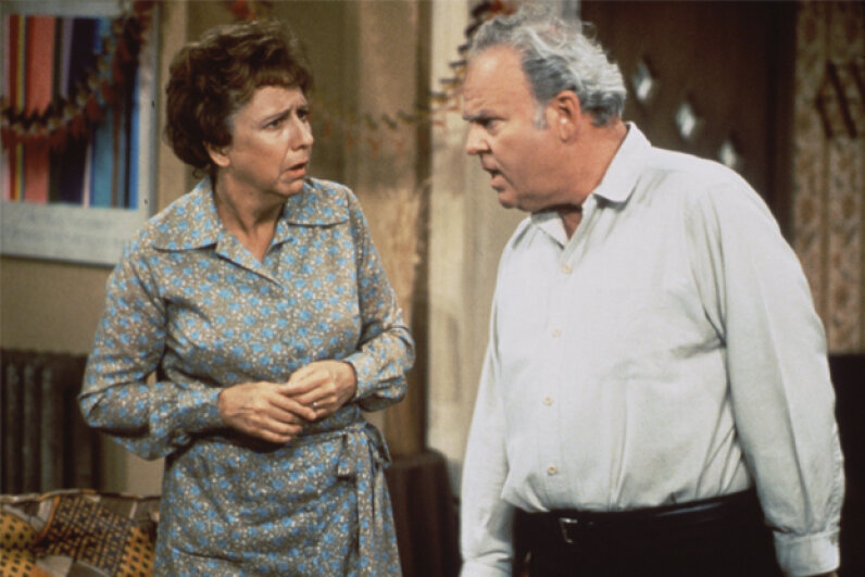 "Jean Stapleton as Edith Bunker and Carroll O'Connor as Archie Bunker in ""All in the Family."" CBS Photo Archive/Contributor/Getty Images"