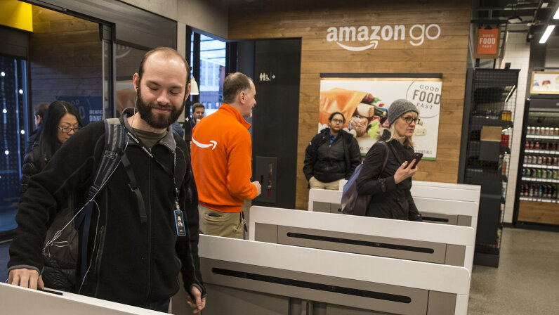 shoppers at Amazon Go store