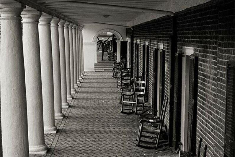 Slenderman is usually inserted digitally into pictures, dressed in a black suit, with tentacles for arms, hovering eerily in the distance of deserted places (or in this case, the University of Virginia). Bob Mical/Flckr
