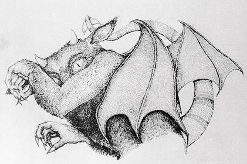 The Jersey Devil, which according to lore, has haunted the wilderness area of southern New Jersey since the 1700s, is depicted in this drawing by Linda Reddington. © Bettmann/CORBIS