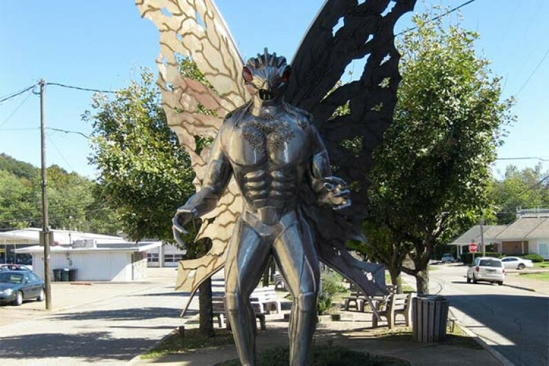 The famous Mothman statue can be seen in Point Pleasant, West Virginia. Richie Diesterheft/Flickr