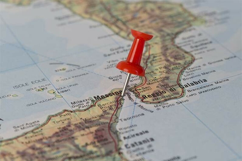 This map shows the Strait of Messina, the site of the twin menaces Scylla and Charybdis. Istimages/iStock/Thinkstock
