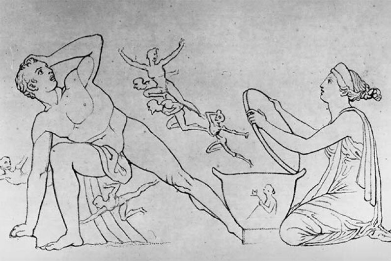 This drawing shows Pandora releasing all the troubles of the world from her box while her horrified husband Epimetheus looks on. Hulton Archive/Getty Images