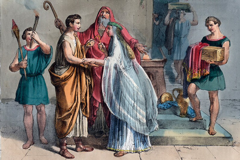Tailors must have been very busy creating the garments for this Roman wedding from antiquity. © Stefano Bianchetti/Corbis