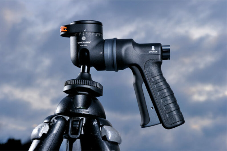The pistol grip is so popular that even non-gun products have appropriated it, like this camera accessory, the Vanguard GH-100 pistol-grip ball head. David Caudery/Digital Camera Magazine via Getty Images