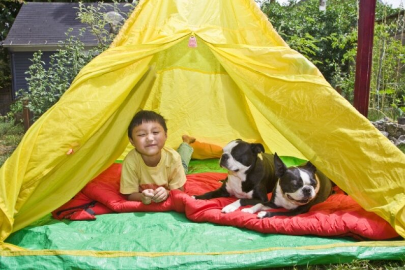 Roughing it, backyard style. Thinkstock
