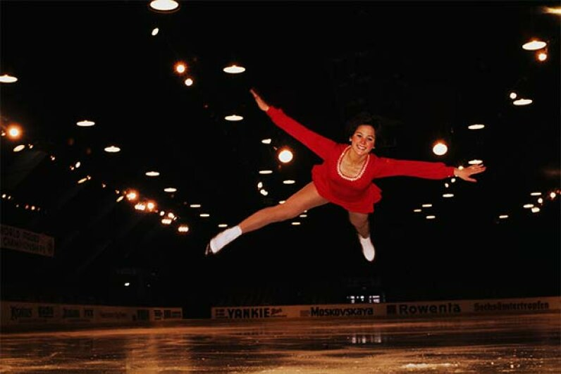 Wearing her trademark wedge haircut, Dorothy Hamill took silver at the 1975 World Championships in Colorado Springs, Colo. Tony Duffy/Getty Images