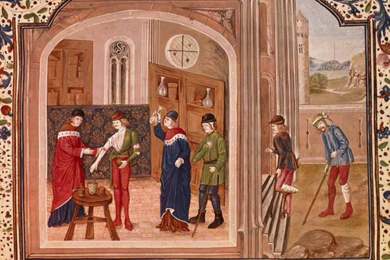 A patient undergoes a bloodletting from a surgeon while others wait outside, (circa 1500s). Bridgeman Art Library/Getty Images