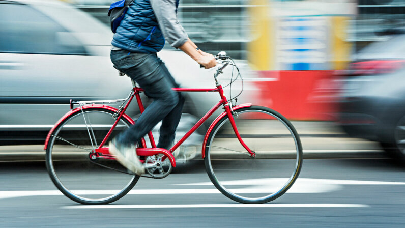 red bicyclist