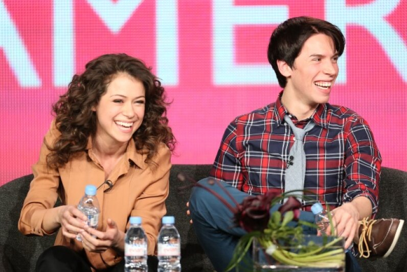 Tatiana Maslany and Jordan Gavaris, stars of the show, laugh at a panel discussion. Frederick M. Brown/Getty Images