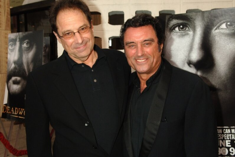 "Show creator David Milch and Ian McShane pose at the ""Deadwood"" 2006 season premiere.  Jeff Kravitz/FilmMagic, Inc/Getty Images"