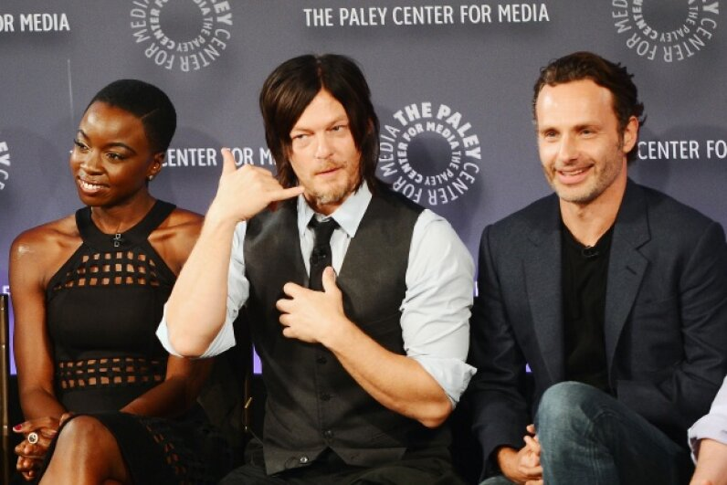"""The Walking Dead"" actors attend an event in New York City. The show's gut-wrenching scenes are offset by moments of genuine human emotion. Stephen Lovekin/Getty Images"