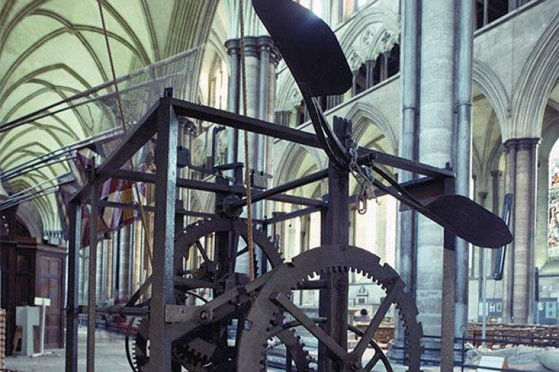 You can still see the Salisbury Cathedral clock, the world's oldest clock, in England. RDImages/Epics/Getty Images