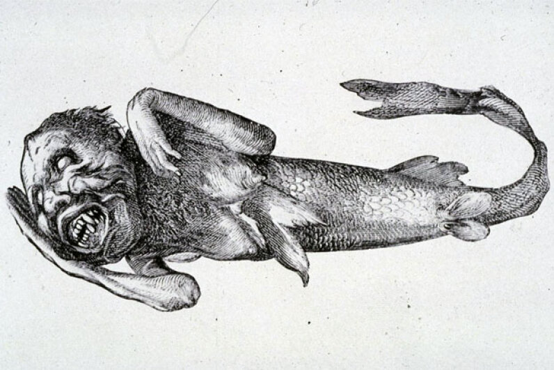 The Fiji Mermaid was a far cry from the beautiful, fantastical mermaids we imagine today. P.T. Barnums/Wiki Commons