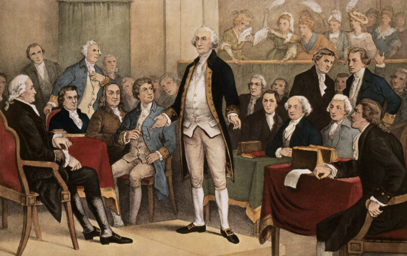 George Washington reluctantly accepted the wish of the American people for him to be their first president. No one campaigned for the office. Currier and Ives/SuperStock/Getty Images